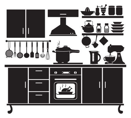 Vector Illustration of Kitchen Cabinets and Household Equipment Silhouette. Vetores