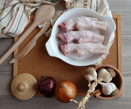 Lamb leg, fresh raw red meat. Turkish food. The collagen storage