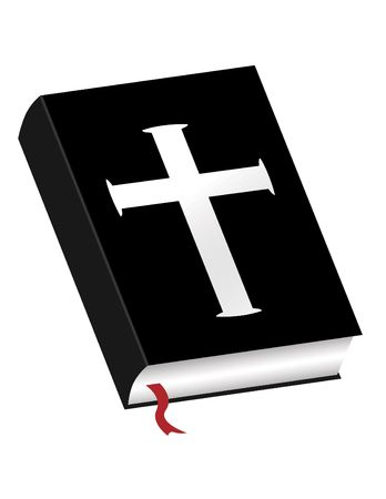 De Heilige Bijbel met kruis op witte achtergrond Stockfoto