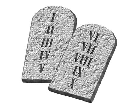 The Ten Commandments of Moses written on stone tablets photo