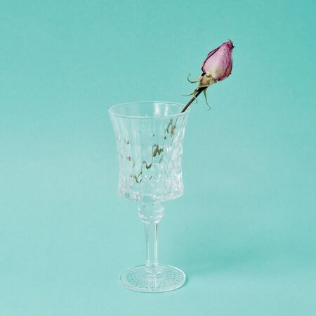 fading rose in a crystal pot