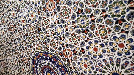 traditional moroccan zellije tiles, Ceramic Zellije tile-mosaic wall, Islamic geometric pattern, Arabe Arabic texture background.