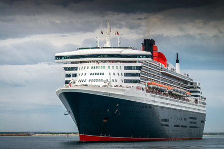 public transportation: 10.03.2014 RMS Queen Mary 2 is leaving Port Adelaide, Outer Harbour, South Australia Editorial