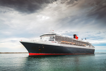 10.03.2014 RMS Queen Mary 2 is leaving Port Adelaide, Outer Harbour, South Australia Editorial