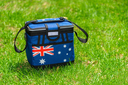 ice chest: Esky cooler box in Australian Flag colors on the grass Stock Photo