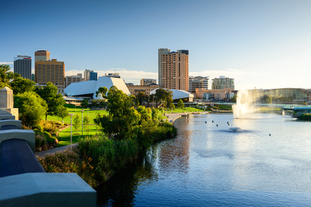 In 2013 Adelaide was ranked as the fifth-most liveable city in the world. Estimated resident population is about 1.3 million Stock Photo