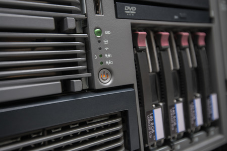 Network Server with Hot Swap Hard Drives installed in a rack Stock Photo