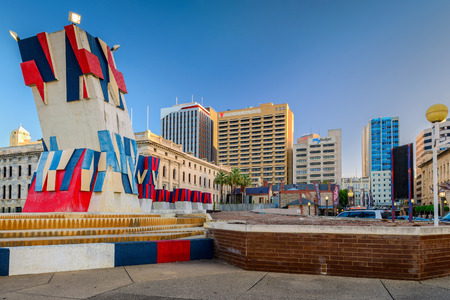 accomodation: ADELAIDE, SOUTH AUSTRALIA - 18 January 2015: Dunstan Playhouse is a professional artistic area of the theatre groups. Stamford Plaza Adelaide Hotel is a modern accomodation for visitors located at the heart of Adelaide. Editorial