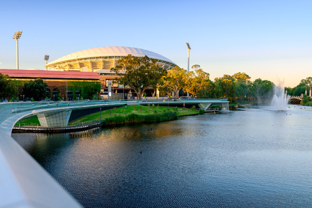adelaide: Adelaide, South Australia - January 18, 2015: View of Adelaide Oval and River Torrens Foot Bridge which are very popular tourist attractions in the city of Adelaide.