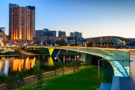 adelaide: Adelaide South Australia  January 18 2015: Adelaide city lights and Riverbank Bridge across Torrens River at night Editorial