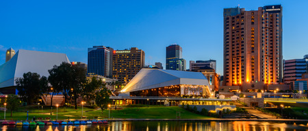 Adelaide South Australia  January 18 2015: Adelaide city lights and Riverbank Bridge across Torrens River at night 報道画像