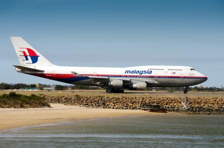 boeing 747: Sydney Australia 16 settembre 2012: Malaysia Airlines Boeing 7474H6 9MMPK decollare da Kingsford Smith Airport per Kuala Lumpur