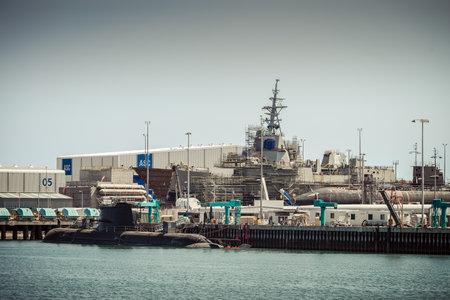 abbott: Adelaide South Australia  January 26 2014: Australian Submarine Corporation Air warfare destroyer HMAS Hobart in the construction dock at Port Adelaide