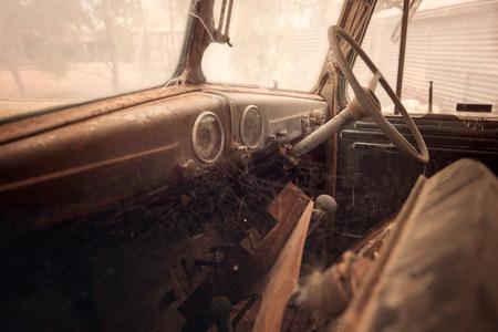 rusty car: Old rusty car interior in vintage color toning