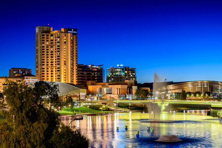 city centre: Adelaide, South Australia - January 18, 2015: Intercontinental Hotel and Riverbank Bridge across Torrens River at night Editorial