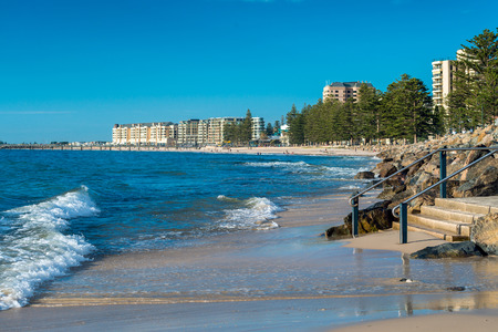 Glenelg Beach panorama during a warm summer day