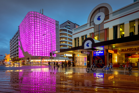 jacks: Adelaide, South Australia - August 11, 2015: One of the many illuminated decorations placed on the UPark above the Hungry Jacks on Rundle Street near Rundle Mall. The Rundle Lantern is fully green-powered and carbon neutral.