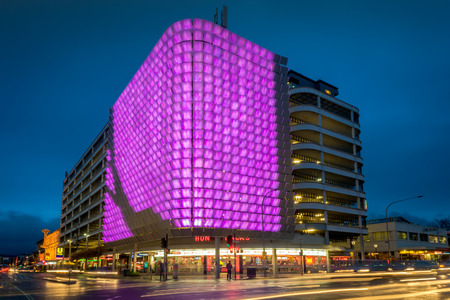carbon neutral: Adelaide, South Australia - August 11, 2015: One of the many illuminated decorations placed on the UPark above the Hungry Jacks on Rundle Street near Rundle Mall. The Rundle Lantern is fully green-powered and carbon neutral.