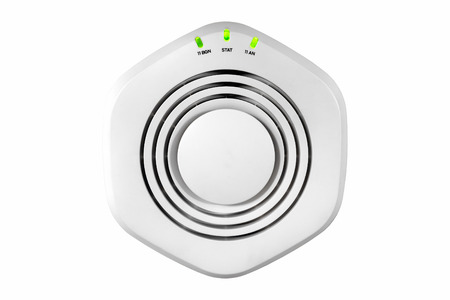 access point: Modern high speed ceiling Mounted Wireless Radio Access Point over white background with clipping path