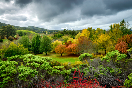 Autumn landscape under the rain in Adelaide Hills