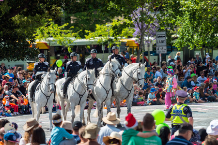 credit union: Adelaide, South Australia - November 14, 2015: Horse Police squadron opening the Credit Union Christmas Pageant 2015. Christmas Pageant is a community event with fantasy and fairy floats, colourful characters, clowns, bands, dancers and more!