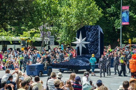 credit union: Adelaide, South Australia - November 14, 2015: Christmas Star new float at the Credit Union Christmas Pageant 2015. Christmas Pageant is a community event with fantasy and fairy floats, colourful characters, clowns, bands, dancers and more!