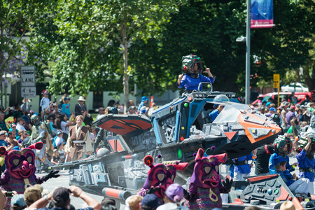 pageant: Adelaide, South Australia - November 14, 2015: Galaxy 2000 (The 501st Legion) at Credit Union Christmas Pageant 2015. Christmas Pageant is a community event with fantasy and fairy floats, colourful characters, clowns, bands, dancers and more! Editorial