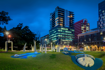 Adelaide, South Australia - August 11, 2015: Hindmarsh Square at night. It was named by the Street Naming Committee after John Hindmarsh, who was the first Governor of South Australia