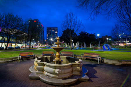 naming: Adelaide, South Australia - August 11, 2015: Hindmarsh Square at night. It was named by the Street Naming Committee after John Hindmarsh, who was the first Governor of South Australia. Long exposure effect Editorial