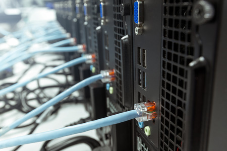 Computers in a row and connected to the local network. PC deployment process in enterprise environment 写真素材