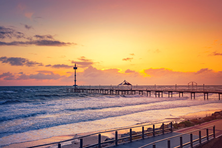 windy day: Brighton Jetty at sunset in a windy day, South Australia Stock Photo