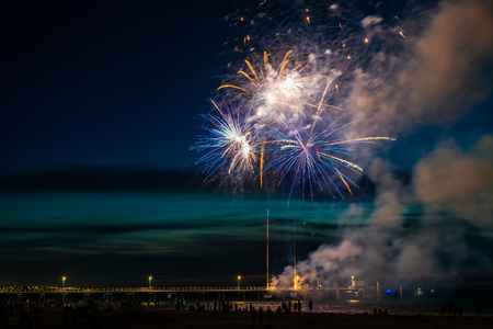 blowup: New Year Fireworks display at Glenelg beach, South Australia