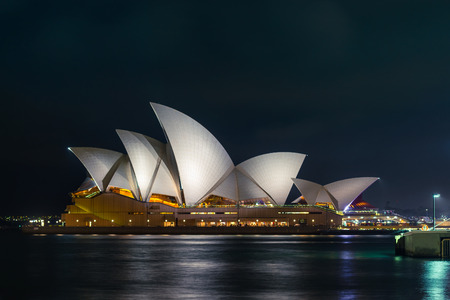 Sydney, Australia - November 7, 2015: Illuminated Sydney Opera House at night. Long exposure effect.