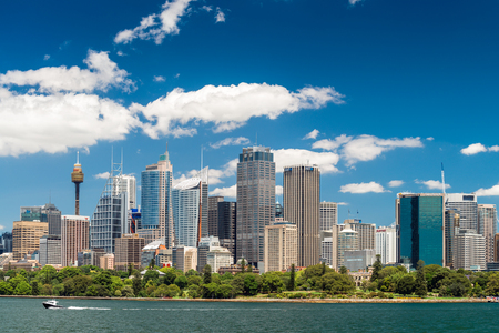 Sydney, Australia - November 09, 2015: Sydney city skyline on a bright day. Sydney is the state capital of New South Wales and the most populous city in Australia and Oceania. 報道画像
