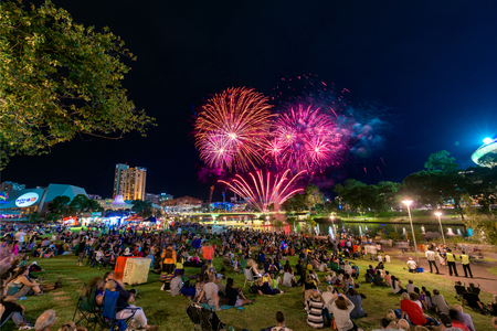blowup: Adelaide, Australia - January 26, 2016: People gathered in Elder Park to celebrate and watch the Australia Day fireworks. More than 40000 of people attended the event. Editorial