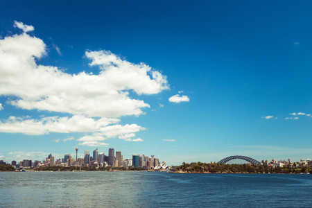 sydney: Sydney city skyline on a bright day. Color tonong effects applied