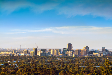 Spectacular view at Adelaide city from the hills