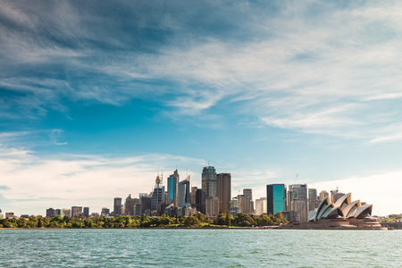 Beautiful panoramic view of Sydney city skyline from the sea