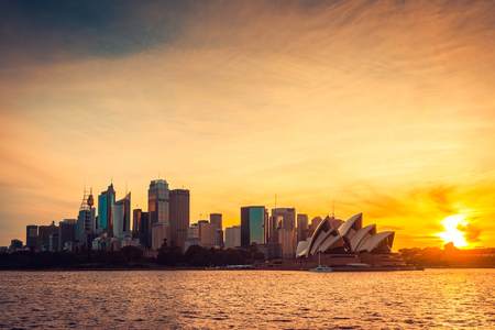 Sydney city view at sunset, NSW, Australia. Cross-processing and color toning effects applied 版權商用圖片