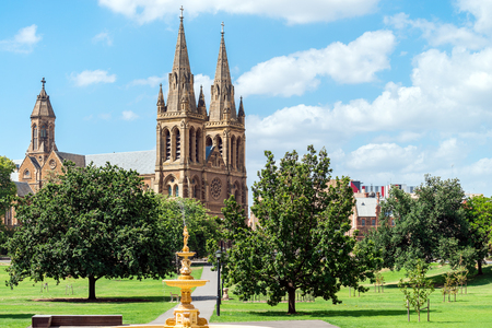 adelaide: St. Peters Cathedral of Adelaide on a day, South Australia. View from Pennington Gardens