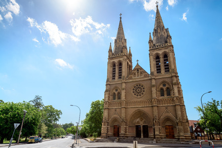Adelaide, Australia - January 3, 2016: St. Peters Cathedral of Adelaide on a day, South Australia. View from Pennington Gardens Redakční