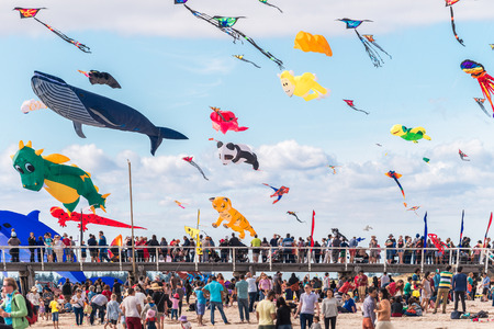 Adelaide, Australia - March 26, 2016: Adelaide International Kite Festival at Semaphore Beach. 2016 Festival featured international kite flyers from Australia, New Zealand, India and USA
