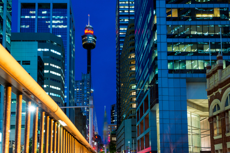 centrepoint tower: Sydney, Australia - November 10, 2015: Famous Sydney Tower, known as Westfield Tower as well at night. Sydney Tower is Sydneys tallest structure and the second tallest observation tower in the Southern Hemisphere. Editorial