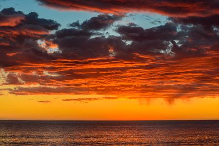 stormy sky: Dramatic stormy sky and sunset, South Australia Stock Photo