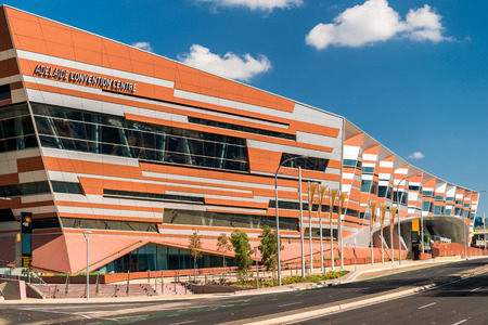 adelaide: Adelaide, Australia - January 3, 2016:  Adelaide New Convention Centre, view from the Montefiore Road on a bright day Editorial