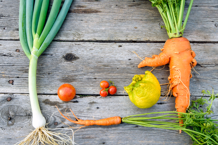 Trendy organic carrot, tomatos, leek and lemob from home garden bed on barn wood table, Australian grown. 写真素材
