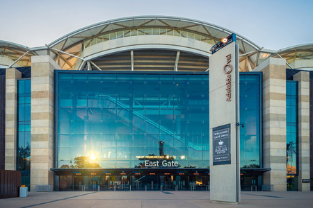 east gate: Adelaide, Australia - January 3, 2016: Adelaide Oval stadium skyline viewed from the East Gate side on the summer evening Editorial
