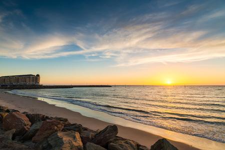 holdfast: Famous Glenel beach at sunset. South Australian coast.