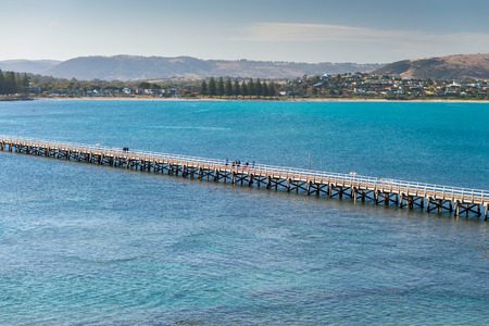 Footbridge: Adelaide, Australia - April 4, 2015: People walking on the footbridge from Granite Island to the main land, South Australia