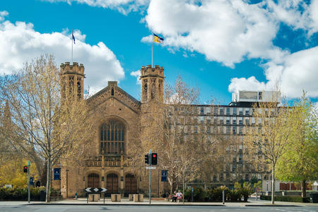 adelaide: Adelaide, Australia - September 11, 2016: View towards the University of South Australia campus on North Terrace from Pulteney Street on a day. Color-toning applied